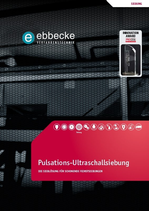 Ebbecke Verfahrenstechnik Flyer Ultraschallsiebung